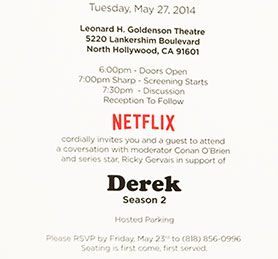 Ali's invite to a discussion of Ricky Gervais's Derek