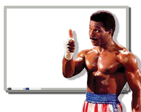 Carl Weathers and his whiteboard (artist's impression)