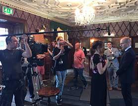 On set with Byw Celwydd