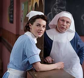 Jessica Raine (left) in Call the Midwife
