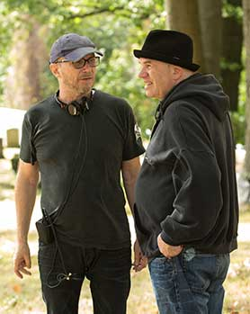 David Simon (right) on set with director Paul Haggis