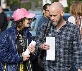 Dave Erickson (right) alongside FTWD exec producer Gale Anne Hurd