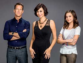 From left: Good Witch stars James Denton, Catherine Bell and Bailee Madison