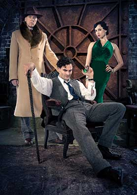 Tom Bateman (centre) plays Dr Jekyll and his sinister alter ego