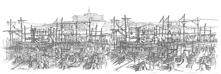 A sketch of the 'smelting area'...