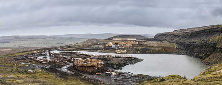 The Beowulf set was constructed within a quarry