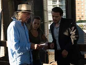 Haddock directing on set