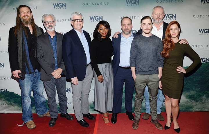 From left: Actor Ryan Hurst, creator and exec producer Peter Mattei, executive producer Peter Tolan, actor Christina Jackson, actor Paul Giamatti, actor Kyle Gallner, actor David Morse, actor Gillian Alexy