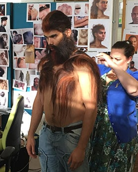 An actor undergoes a painstaking make-up transformation