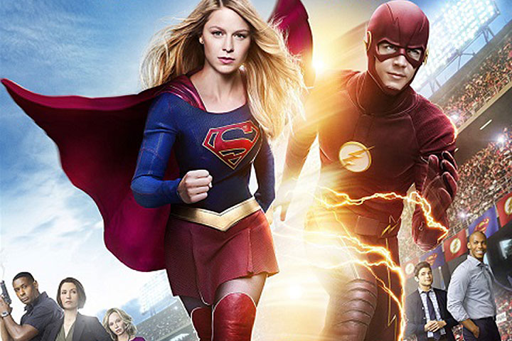 A promotional image for the upcoming Supergirl and The Flash crossover