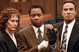 Sarah Paulson, Cuba Gooding Jr and John Travolta in American Crime Story: The People vs OJ Simpson