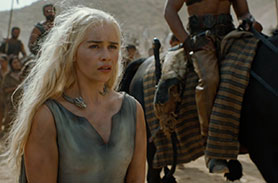 Emilia Clarke as Daenerys Targaryen in the season six premiere of HBO's Game of Thrones