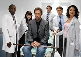 The original US version of House, starring Hugh Laurie (centre)