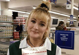 Aherne as 'Checkout Girl' in hit sketch comedy The Fast Show