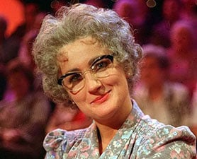 Caroline Aherne presented a mock chatshow in the guise of Mrs Merton