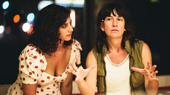 Jessie Kahnweiler (left) with script supervisor Laramie Denis