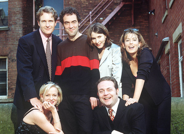 The cast in Cold Feet's early days. Helen Baxendale (second from left) has not returned for the new series after her character was killed off