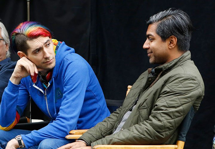 Max Landis (left) and Arvind Ethan David on set