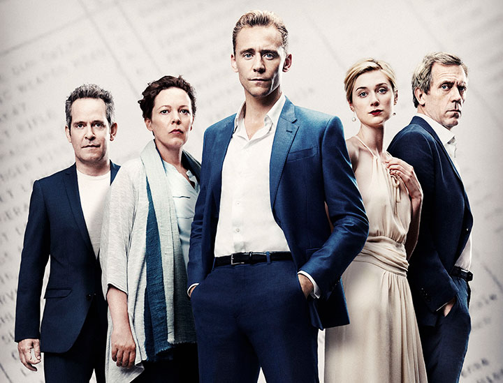 The main cast from left: Tom Hollander, Olivia Colman, Tom Hiddleston, Elizabeth Debicki and Hugh Laurie
