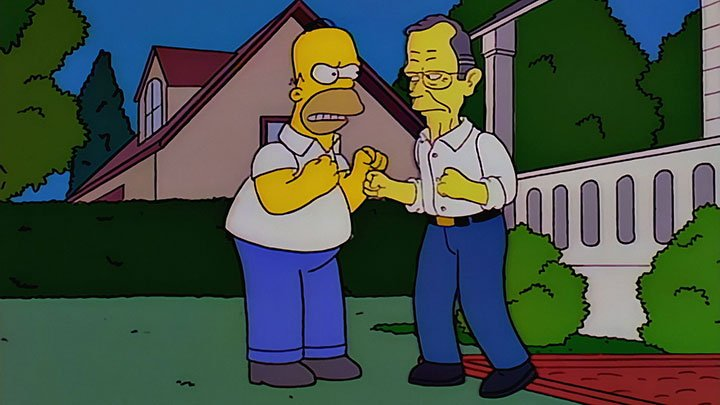 Homer squares up to George Bush Sr in The Simpsons